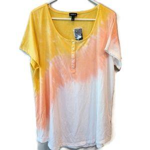NEW Torrid 2 Tie Dye Henley Super Soft Shirt Top B
